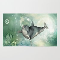 dolphin Area & Throw Rugs featuring Dolphin by nicky2342