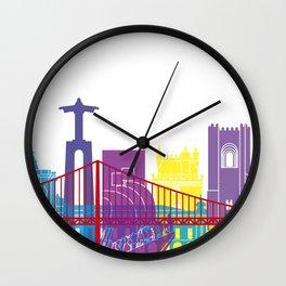 Lisbon skyline pop Wall Clock