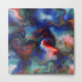 Red, Blue, and Green Marble Metal Print