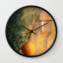 A glass of wine with an apple on a colourful painted background Wall Clock