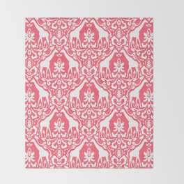 Giraffe Damask Coral Throw Blanket