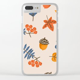 Autumn leaves pattern Clear iPhone Case