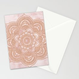 Rose gold mandala - pink marble Stationery Cards