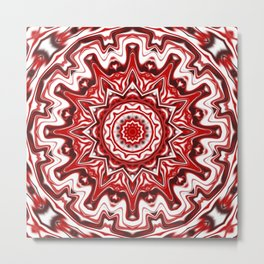 Red and White Kaleidoscope Metal Print