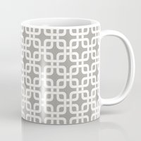 mid century modern Mugs featuring Mid-Century Modern Geometric Pattern, rounded corner squares interlocking by Audrey Jeannes