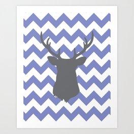Purple chevron deer Art Print