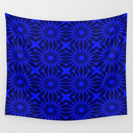 Blue Pinwheel Flowers Floral Pattern Wall Tapestry