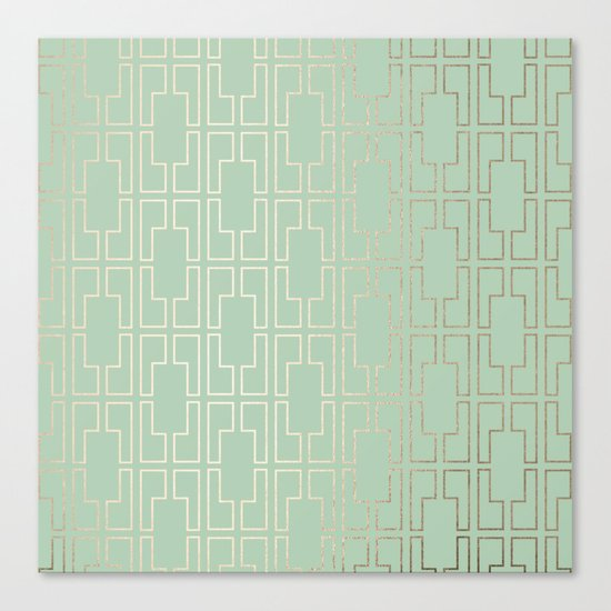 Simply Mid-Century in White Gold Sands and Pastel Cactus Green Canvas Print