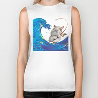 hokusai Biker Tanks featuring Hokusai Rainbow & Hippopotamus Fishing  by FACTORIE