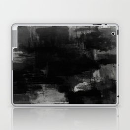 Pointless - Black and white abstract textured painting Laptop & iPad Skin