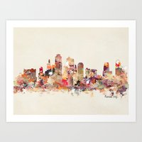 kansas city Art Prints featuring Kansas City Missouri by bri.buckley
