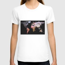 World Map Silhouette - Galaxy T-shirt