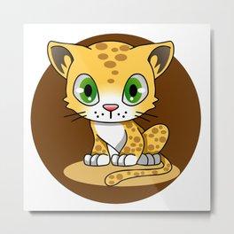 Cute baby cat leopard cartoon Metal Print