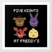 fnaf Art Prints featuring The FNAF Gang by AjaSama