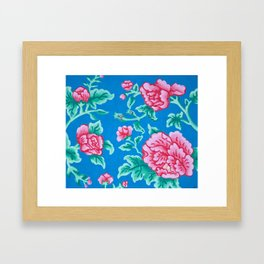 Peonies in perspective red Framed Art Print