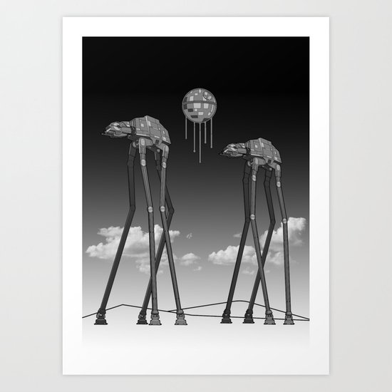Dali's Mechanical Elephants - Black Sky Art Print