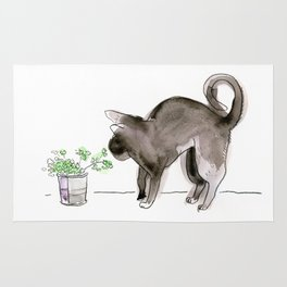 Black Kitten Sniffing Plants: Water Color Illustration Rug