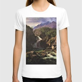 Waterfall in an Italian Mountainous Landscape by Eduard Agricola T-shirt
