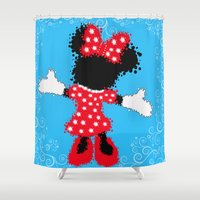 minnie mouse Shower Curtains featuring Minnie Mouse Paint Splat Magic Blue Background by Whimsy and Nonsense