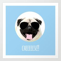 cheese Art Prints featuring CHEESE by Laura Maria Designs