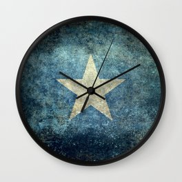 Somalia‬ national flag (officially the Federal Republic of Somalia) Vintage version to scale Wall Clock