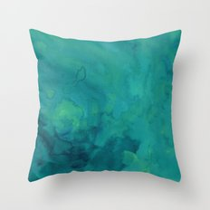 Watercolor green and blue Throw Pillow