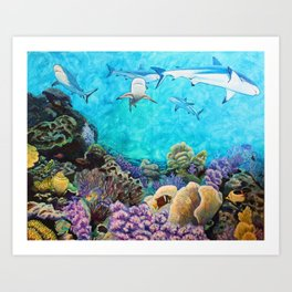 Shiver - Sharks in the Reef Art Print
