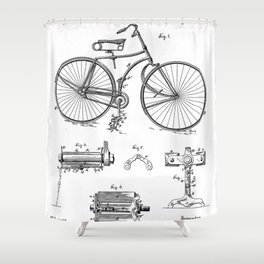 Bicycle Patent - Cyclling Art - Black And White Shower Curtain