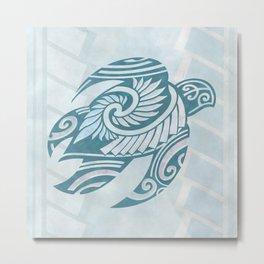 Hawaiian Tribal Turtle Metal Print