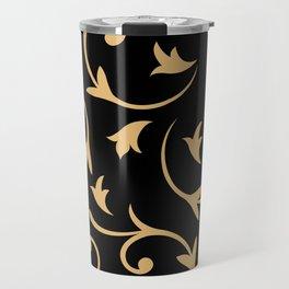 Baroque Design – Gold on Black Travel Mug