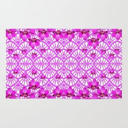 ABSTRACT PATTERNED PURPLE ART DECO  ORCHIDS Rug