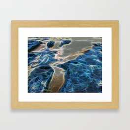 Abstract rock pool and sand on a beach Framed Art Print