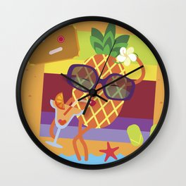 Pineapple on vacations Wall Clock
