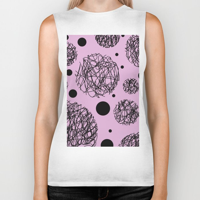Scribbles II - Abstract black scribbles and black circles pattern on pink Biker Tank