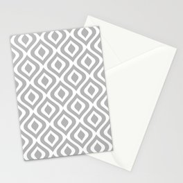 Mid Century Modern Diamond Ogee Pattern 123 Gray Stationery Cards