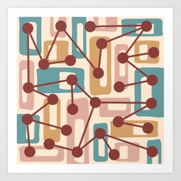 Mid Century Modern Atomic Nucleus Pattern 432 Art Print