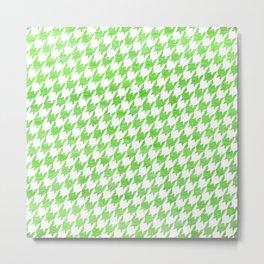 Green Houndstooth Pattern Metal Print