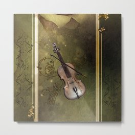 Wonderful violin with clef and key notes Metal Print