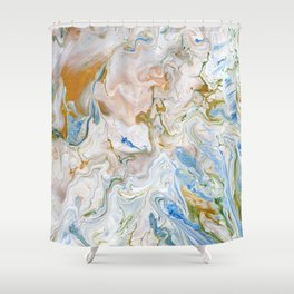Abstract modern marbel wavy painting pattern Shower Curtain
