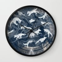 clockwork orange Wall Clocks featuring GHOSTS  by Sandra Dieckmann