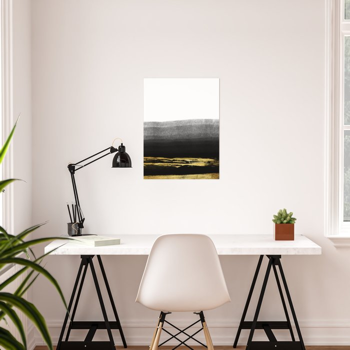Black & Gold Stripes on White - Mix & Match with Simplicty of life Poster