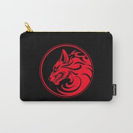 Red and Black Growling Wolf Disc Carry-All Pouch