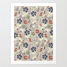 Retro Flora Art Print
