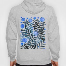 Flowers and foliage - indigo and purple Hoody
