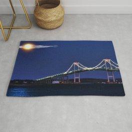 Full Moon and the Newport Bridge at Twilight- Newport, Rhode Island Rug