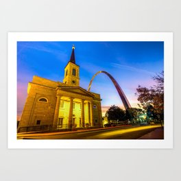 Downtown Saint Louis Arch and The Old Cathedral - Basilica of St. Louis Art Print