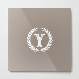 Beige Monogram: Letter Y Metal Print