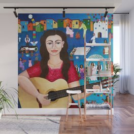 Violeta Parra playing guitar Wall Mural
