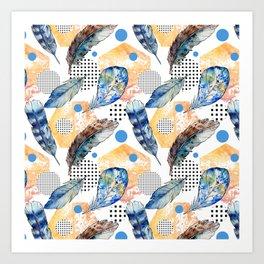Geometrical blue yellow watercolor bohemian feathers Art Print