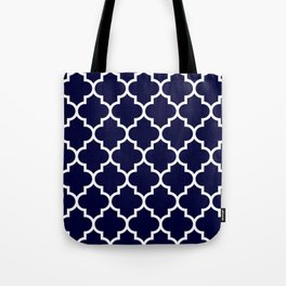 White Moroccan Quatrefoil On Navy Blue Tote Bag